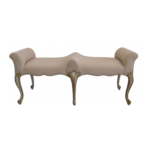 a shapely french louis XV style pale green painted and parcel-gilt double-seated bench