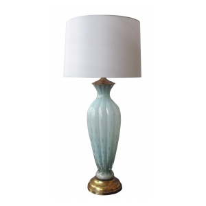 a striking and tall murano mid-century sea-foam green art glass lamp; by barovier toso