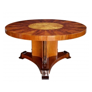 finely crafted swedish art deco circular table with well-figured flame mahogany and satin birchwood