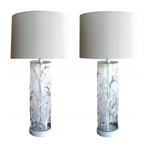a unique american 1960's pair of cylindrical glass lamps with applied bamboo decoration