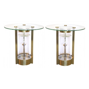 a rare pair of american 1950's glass and brass illuminated circular side tables; designed by dorothy thorpe