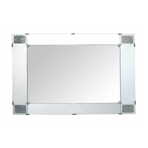 a large and good quality french art deco beveled mirror with pewter floral reserves