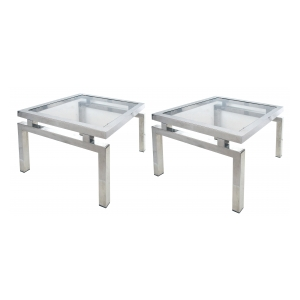 a good quality pair of french 1970's chrome and glass end/side tables in the manner of guy lefevre