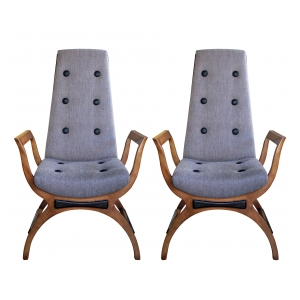 a stylish pair of american 1960's high-back open arm lounge chairs in the manner of adrian pearsall