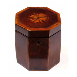 a shapely english georgian octagonal lidded tea caddy with shell inlay