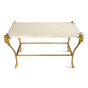 a chic french maison bagues 1940's gilt-bronze cocktail table with fossilized stone top