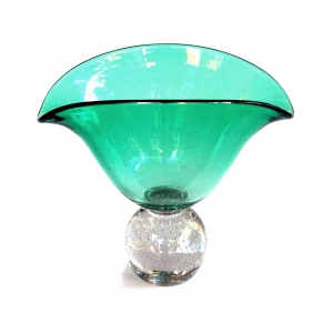 a shapely and good quality american mid-century emerald-green pedestal vase by pairpoint glassworks