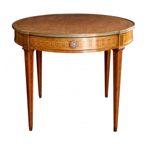 an elegant and good quality french louis xvi style tiger mahogany and kingwood and marquetry inlaid circular bouillotte table