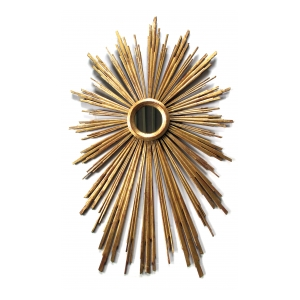 a large and vibrant italian gilt-wood starburst mirror with radiating spokes