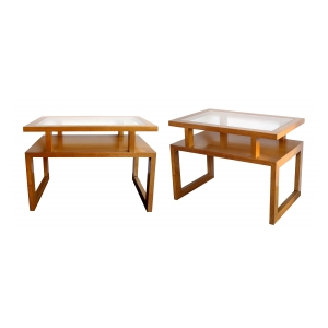 a smart pair of american 1970's maplewood rectangular side/end tables with glass inset tops