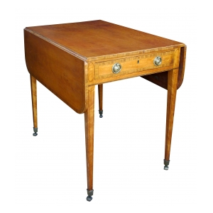 a fine english george iii satinwood single-drawer d-end pembroke table with kingwood inlay and ebony stringing; in the manner of thomas sheraton
