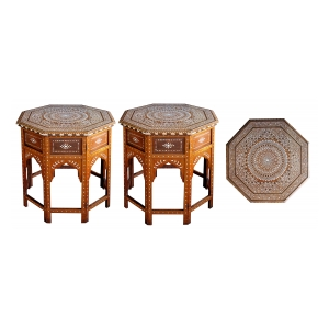an unusually large and finely inlaid pair of anglo-indian octagonal traveling tables