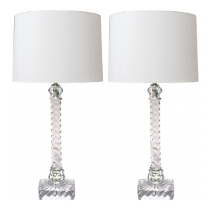 a shimmering and good quality pair of american lamps of solid spiraling clear glass