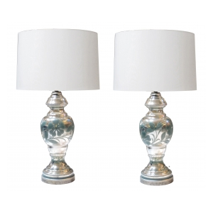 large and good quality pair of french mid-century mercury-mirror glass lamps with painted sage-green floral vines