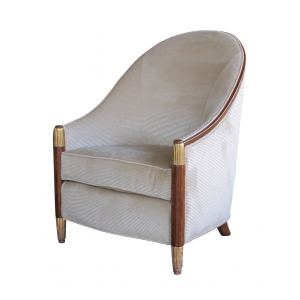 an elegant french art deco bergere with sweeping back;  in the style of Paul Follot