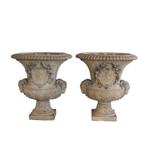 epoca  pair of italian neoclassical style campagna-form hand-carved terracotta urns