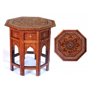 intricately inlaid anglo indian 19th century octagonal sandalwood side/tea table with bone inlay; stamped 'British India'