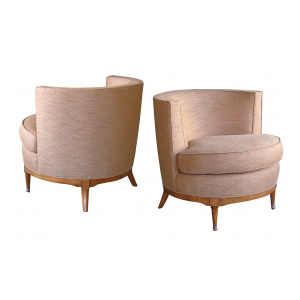a mod pair of american mid-century barrel-back club chairs
