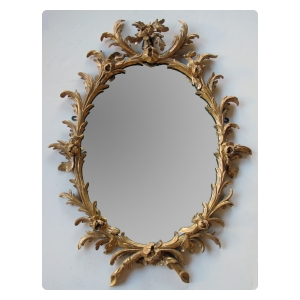 good quality english george II rococo giltwood oval foliate-carved mirror