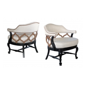 a stylish pair of american 1960's hollywood regency deep-brown and taupe lacquered barrel-back chairs