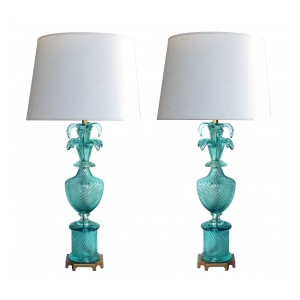 a stunning and large pair of murano 1960's baluster-form aqua glass lamps by marbro lamp co.