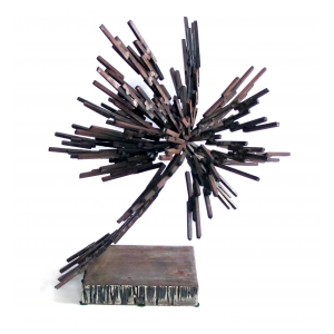 a vibrant 1970's iron sculpture entitled 'super nova'