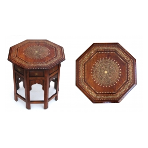 intricately designed anglo-indian brass and copper inlaid octagonal traveling table