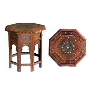 intricately detailed brass and pewter inlaid octagonal anglo-indian traveling table