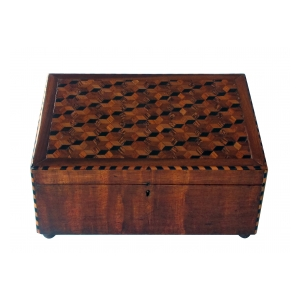 handsome and warmly-patinated english william IV mahogany dressing box with tumbling block inlay