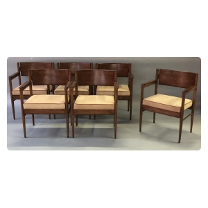 stylish and solid set of 6 american mid-century walnut arm chairs with tan boar skin upholstery