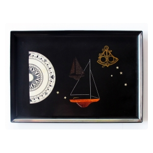finely crafted and hand-inlaid american mid-century black resin tray by couroc of monterey