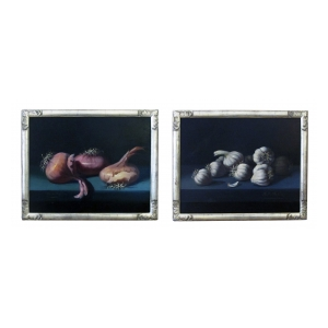 oil on canvas; a finely rendered pair of still life paintings depicting onions and garlic; signed 'M V Millan' (Spain 1923-1984)
