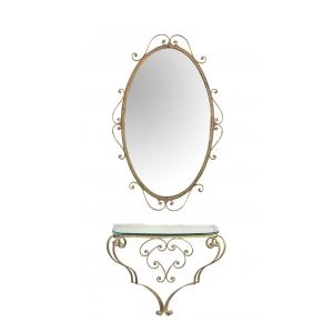 chic italian 1940's Pier Luigi Colli (1895-1968) gilt-iron console table and mirror