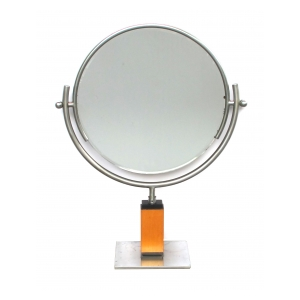 chic american art deco 1930's steel dressing mirror raised on a maplewood base with ebonized highlights