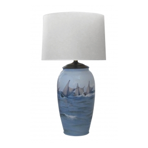 large and striking danish Bing & Grondahl ceramic table lamp painted with a seascape and mountains