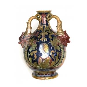 a rare Alfredo Santarelli luster-glazed double-handled vase