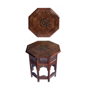 intricately inlaid anglo indian octagonal side/traveling table with brass and copper inlay
