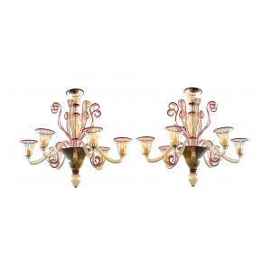 chic pair of murano gold-aventurine 6-light chandeliers with ruby-red trim
