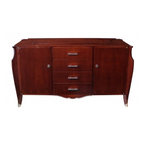 Superb Quality French Art Deco Tiger-Mahogany Sideboard, in the style of Jules-Emile Leleu (French, 1883-1961)