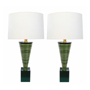Pair 1950's Atomic Age Conical-form Green Glazed Ribbed Lamps