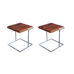Chic Pair of French 1970's Square Macassar and Chrome Side Tables