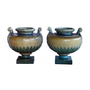 Pair of French Glazed Earthenware Urns;  signed 'Emile Muller, Paris'