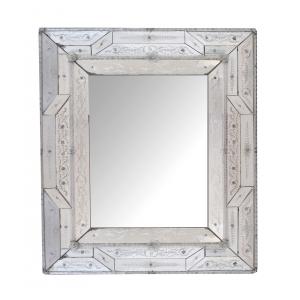 Stunning Antique Italian Reverse-etched Rectangular Venetian Mirror
