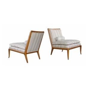 Pair T.H. Robsjohn-Gibbings for Widdicombmodel no. WMB Mid-Century Walnut Slipper Chairs