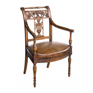 Italian Neoclassical Carved Fruitwood Armchair with Leather Seat