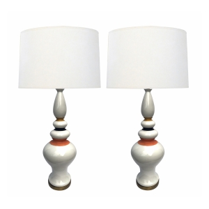 Shapely Pair of 1960's White-glazed Lamps with Mustard, Black and Coral Highlights