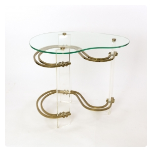 Stylish Kidney-shaped Glass and Lucite Side Table with Curvaceous Glass Stretchers