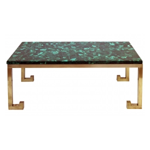 a good quality italian 1970's brass table base with marquetry malachite top; designed by nucci valesecchi