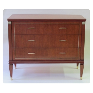 stylish and tailored french 1940's 3-drawer tiger mahogany chest in the neoclassical taste