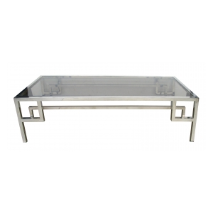a modish french 1970's chrome and glass rectangular coffee/cocktail table